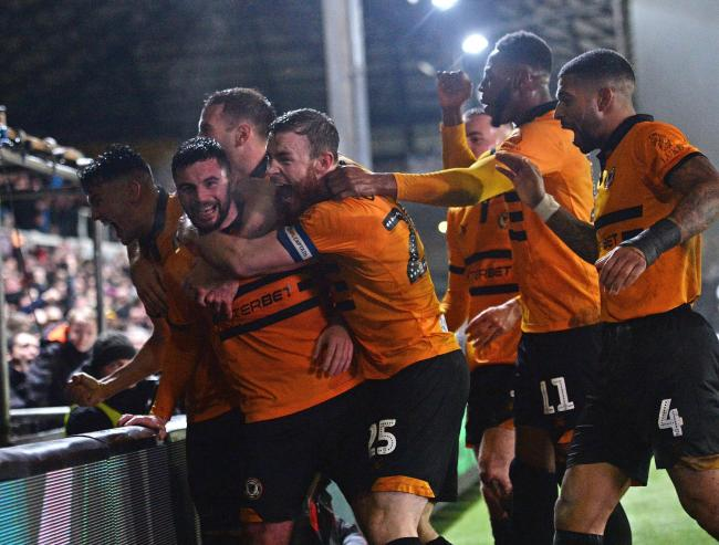 VICTORY: Padraig Amond hopes to be celebrating with his Newport County teammates at Wembley tomorrow