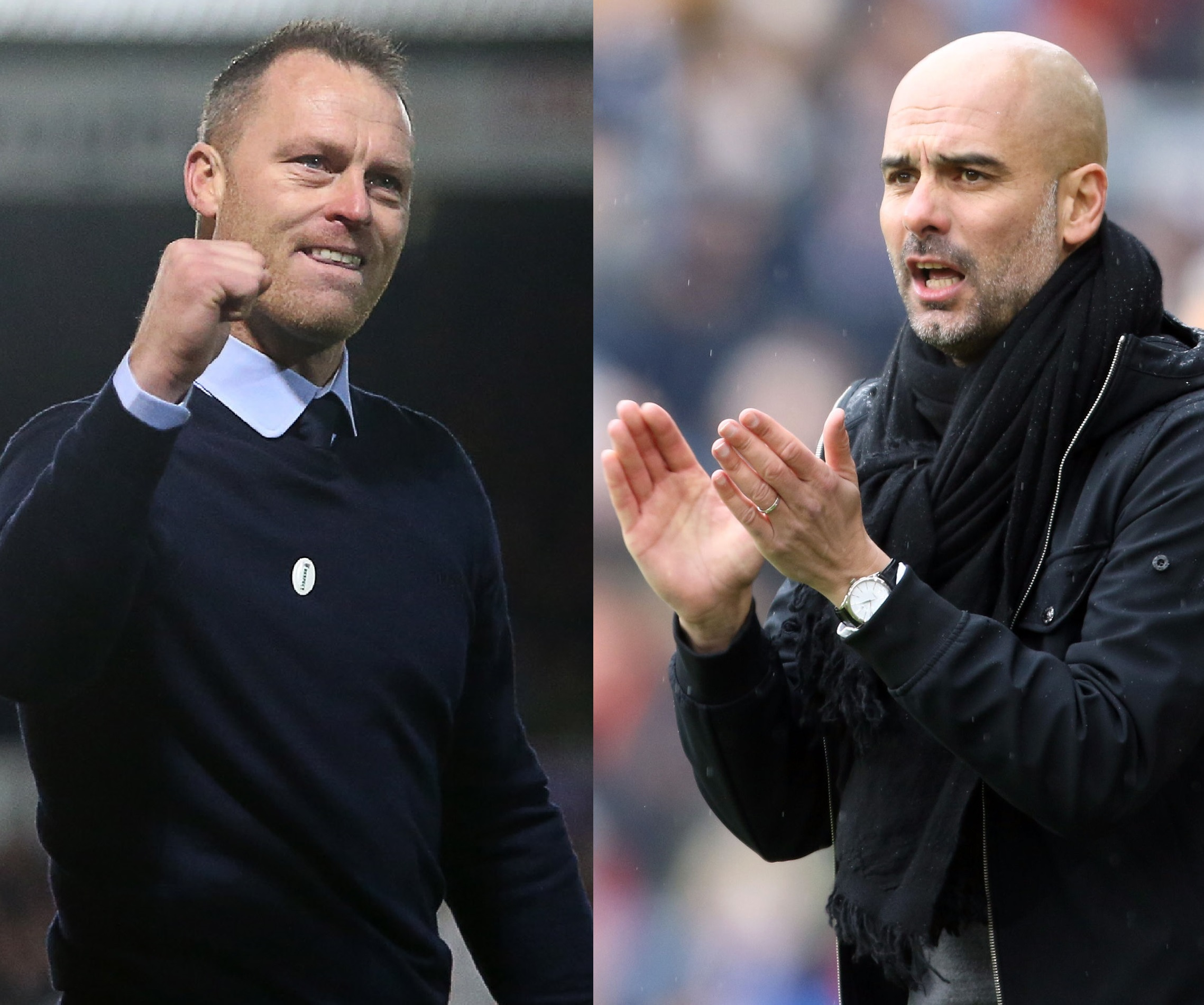 RESPECT: Newport County manager Michael Flynn, left, and Manchester City boss Pep Guardiola