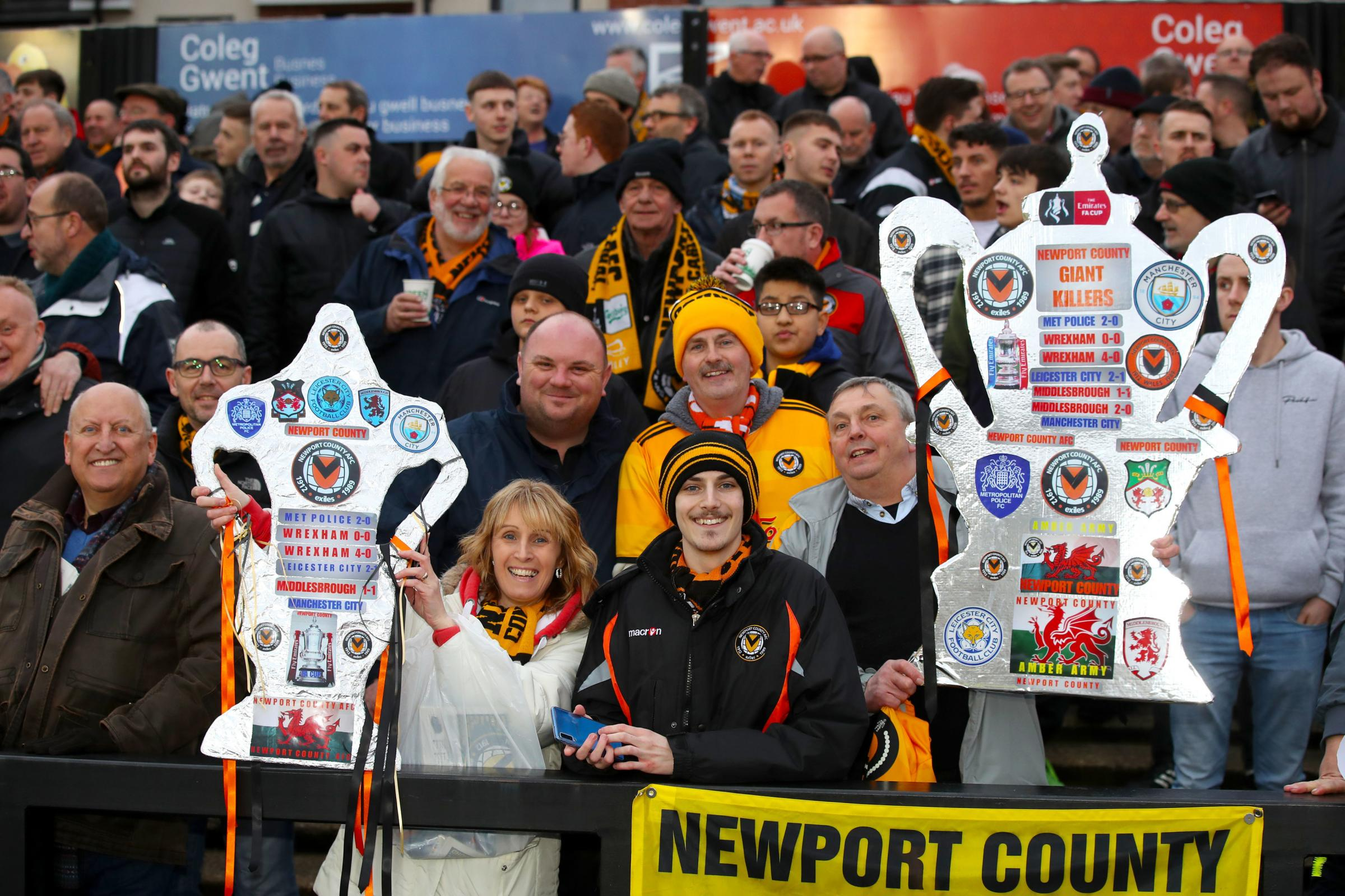 PROUD: Newport County fans packed into Rodney Parade for the FA Cup fifth-round clash with Manchester City