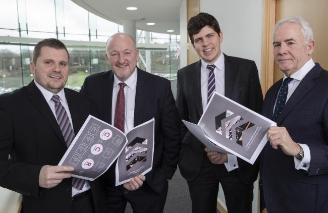(L-R) Cllrs Andrew Morgan (RCT), Cllr Peter Fox (Monmouthshire), Cllr Huw Thomas (Cardiff) and Frank Holmes at the launch of the industrial and economic growth plan in Ystrad Mynach