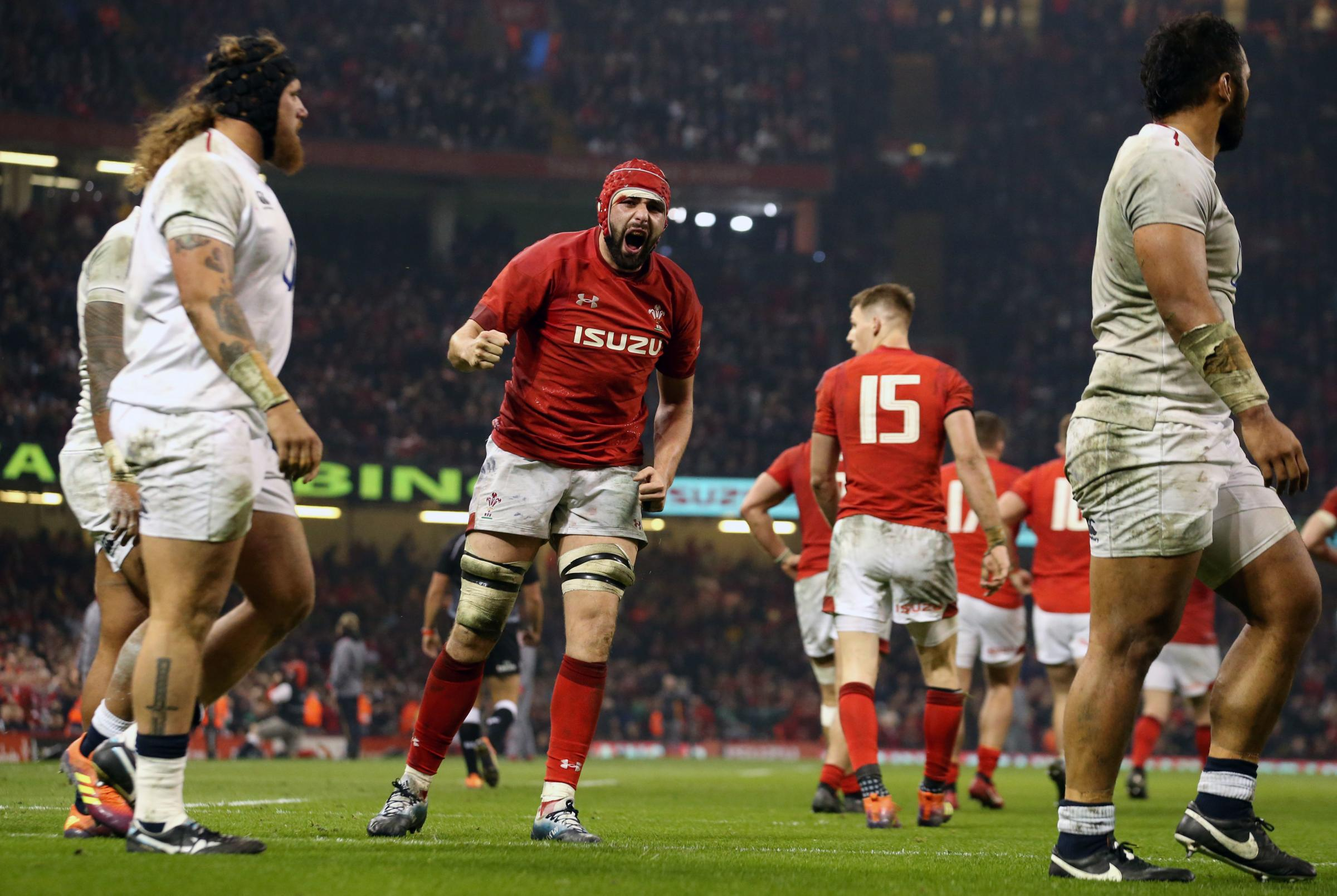Wales' Cory Hill celebrates scoring his side's first try of the game during the Guinness Six Nations match at the Principality Stadium, Cardiff. PRESS ASSOCIATION Photo. Picture date: Saturday February 23, 2019. See PA story RUGBYU Wales. Pho