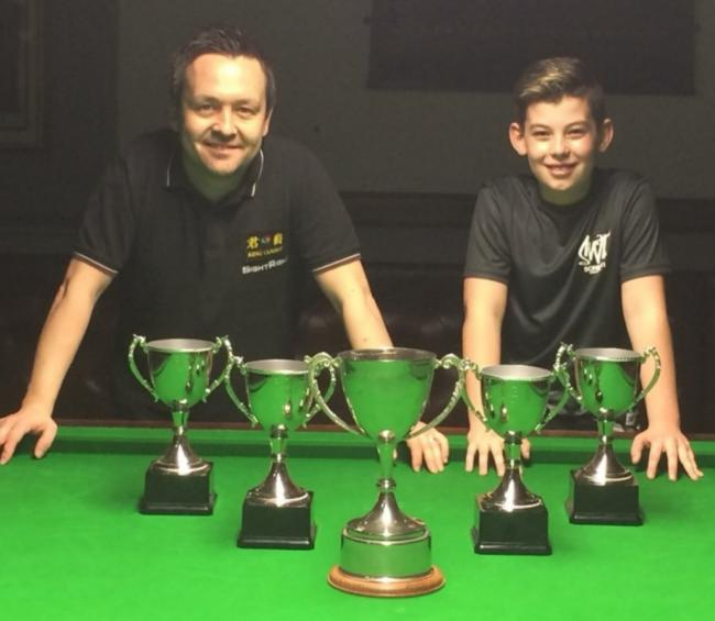 RISING STAR: Liam Davies, right, with coach Lee Walker