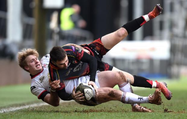 South Wales Argus: SMASHED: Jordan Williams is tackled