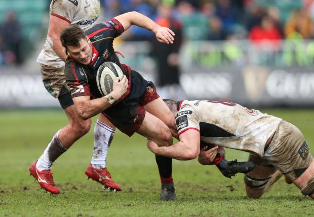 South Wales Argus: SNARED: Josh Lewis is tackled