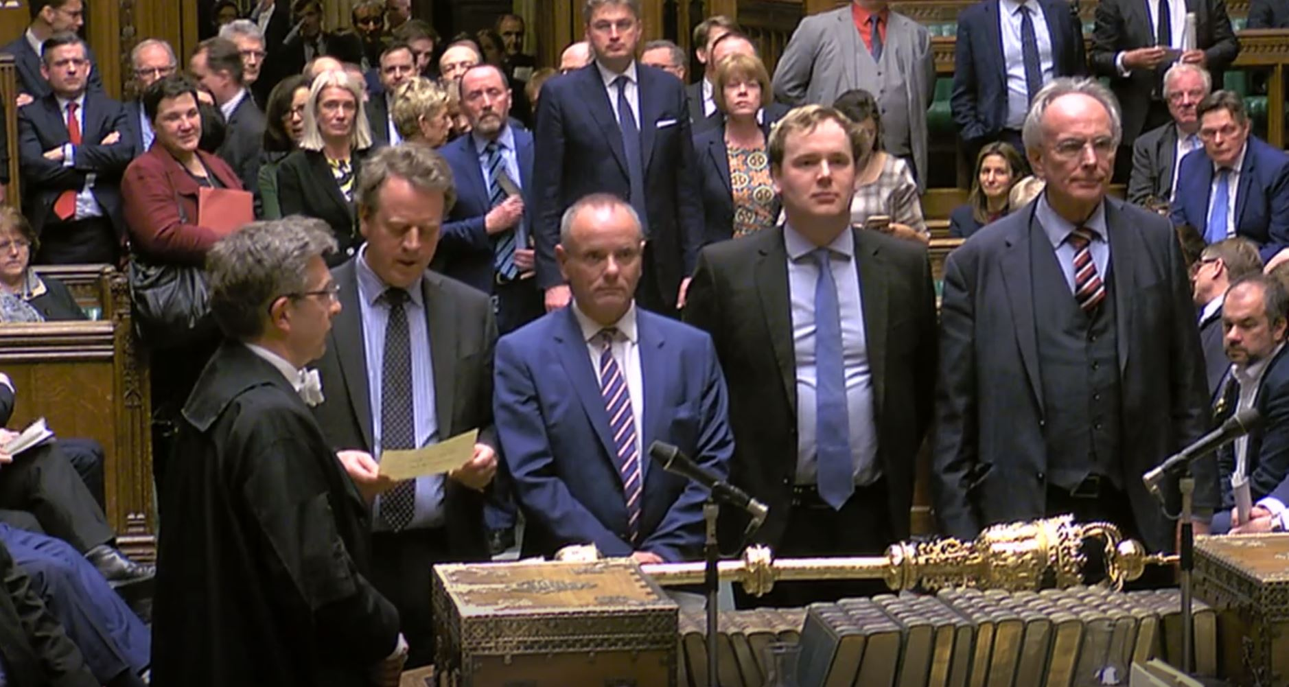 MPs announcing the result of the Brexit vote on Thursday, where the motion to allow the Prime Minister to request a one-off extension ending June 30 was passed by 412 votes to 202. Picture: House of Commons/PA Wire