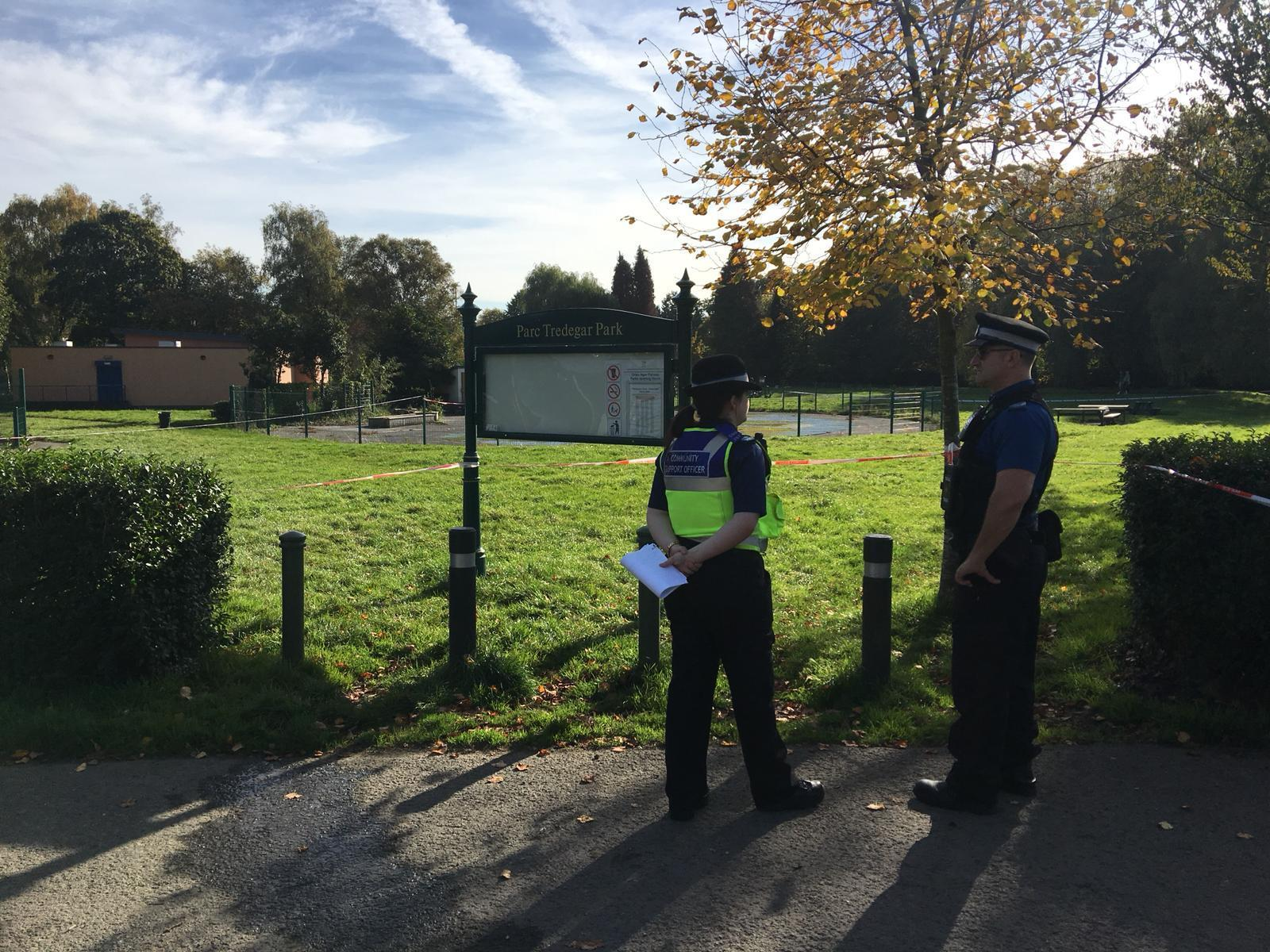 Police officers at the scene in Tredegar Park on October 24