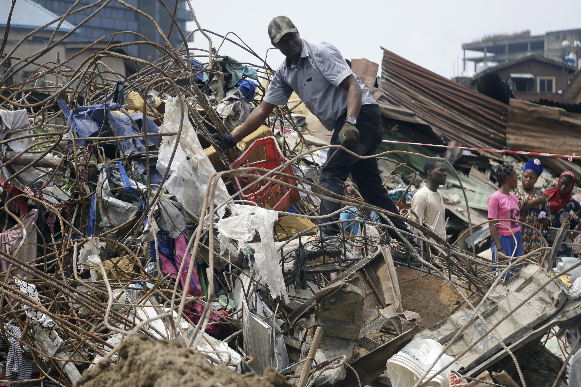 The wreckage of the building in Lagos