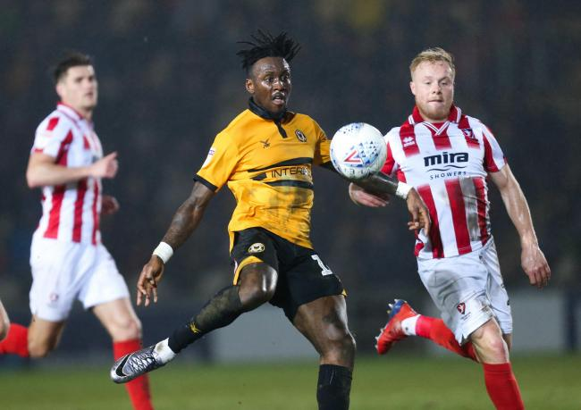 INJURED: Newport County striker Ade Azeez is set for a lengthy injury lay-off due to an Achilles problem
