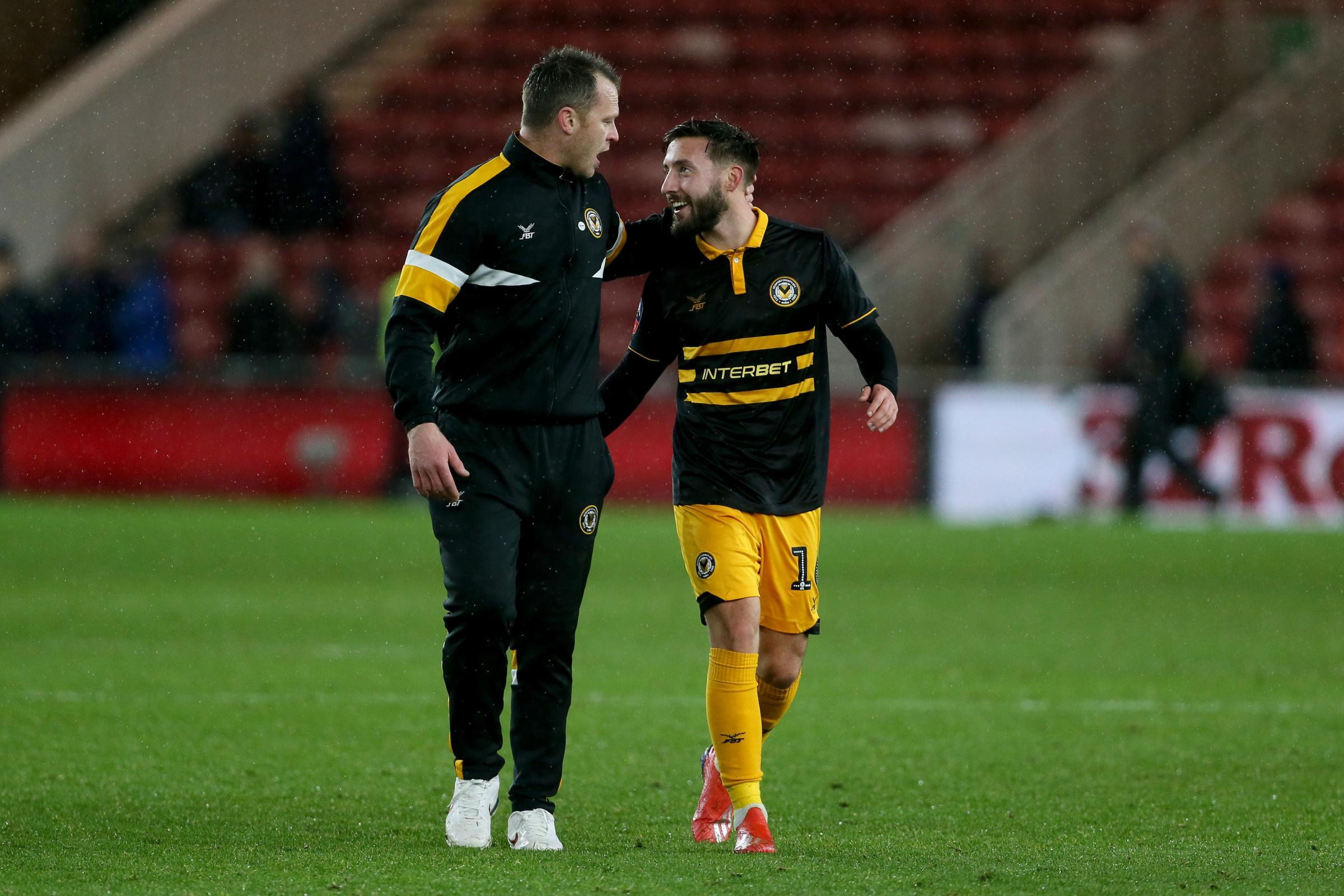 PRAISE: Newport County boss Michael Flynn with Josh Sheehan after the FA Cup clash at Middlesbrough