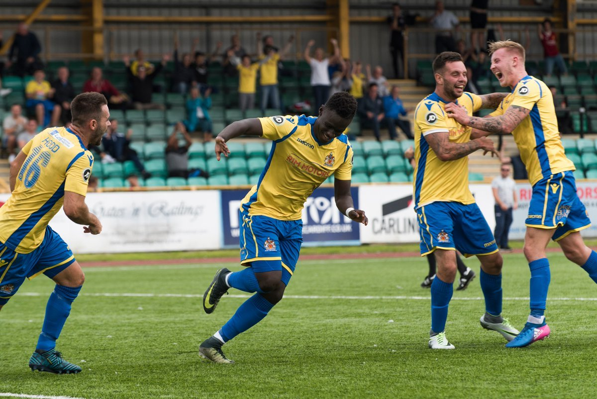 GOAL: Newport County striker Momodou Touray celebrates one of his 14 strikes for loan club Barry Town United