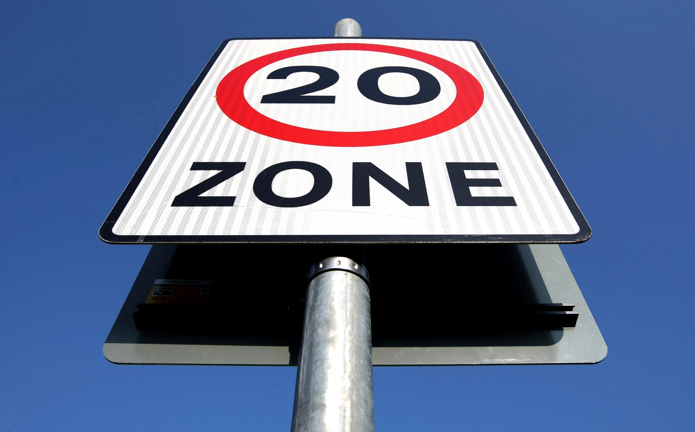 File photo dated 21/04/09 of a 20mph speed limit sign, as a study has found that more than four lives a year have been saved since the introduction of 20mph zones in one of Britain's major cities. PRESS ASSOCIATION Photo. Issue date: Tuesday February