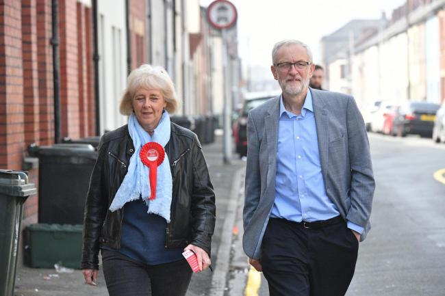 Jeremy Corbyn and Ruth Jones on the campaign trial in Dolphin Street, Newport. Picture: Ben Birchall/PA Wire