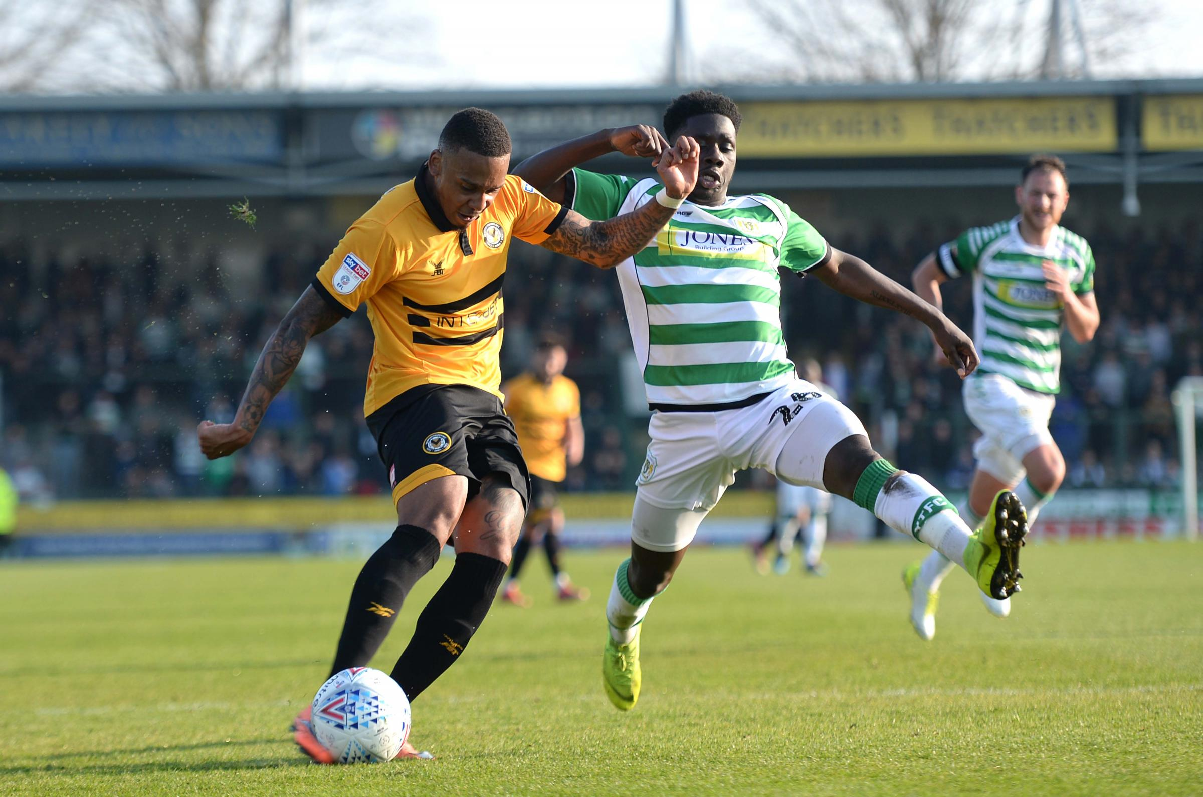OFF THE MARK: Keanu Marsh-Brown bags his first County goal at Huish Park. Picture: Huw Evans Agency