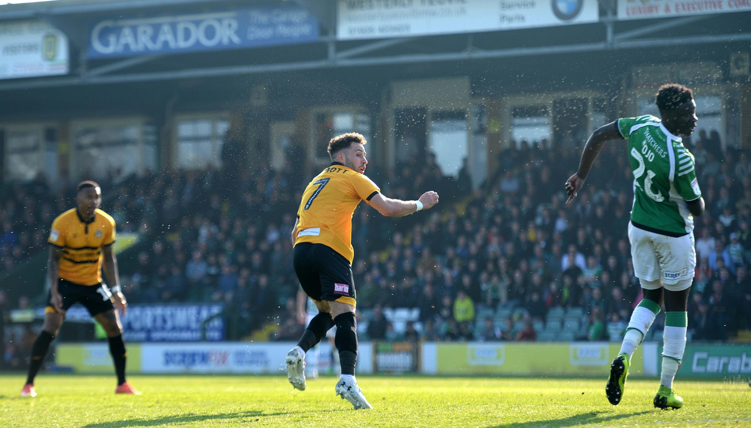 BREAKTHROUGH: Robbie Willmott headed Newport County into the lead at Yeovil Town. Pictures: Huw Evans Agency