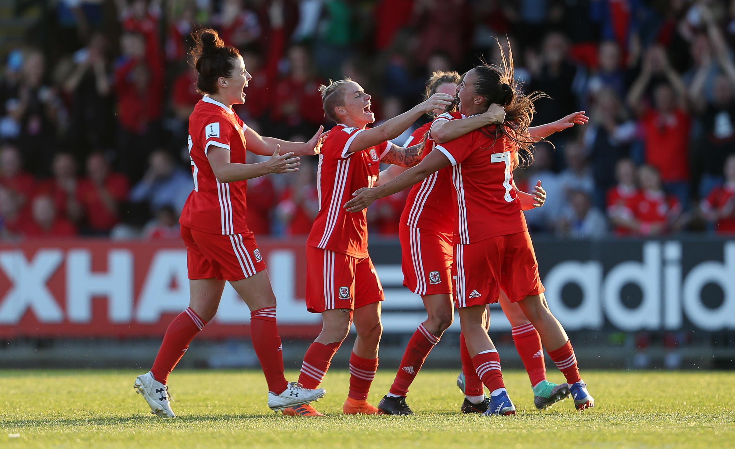 GOAL DROUGHT: Wales celebrate Natasha Harding's goal against Russia in June 2018 – they haven't scored since