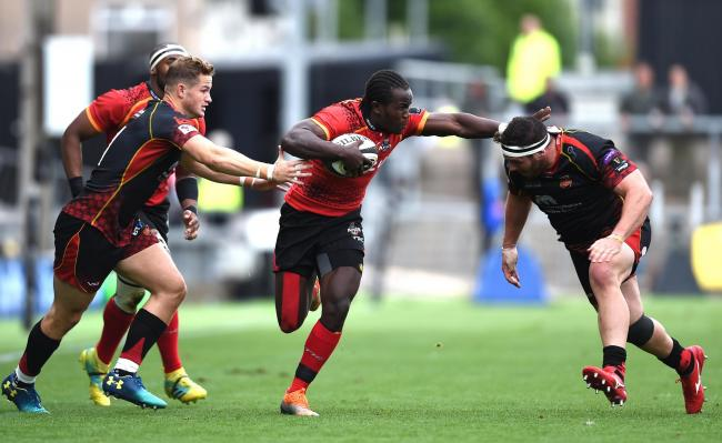 DANGERMAN: Kings speedster Yaw Penxe caused the Dragons problems at Rodney Parade and scored one of the tries of the season against Edinburgh