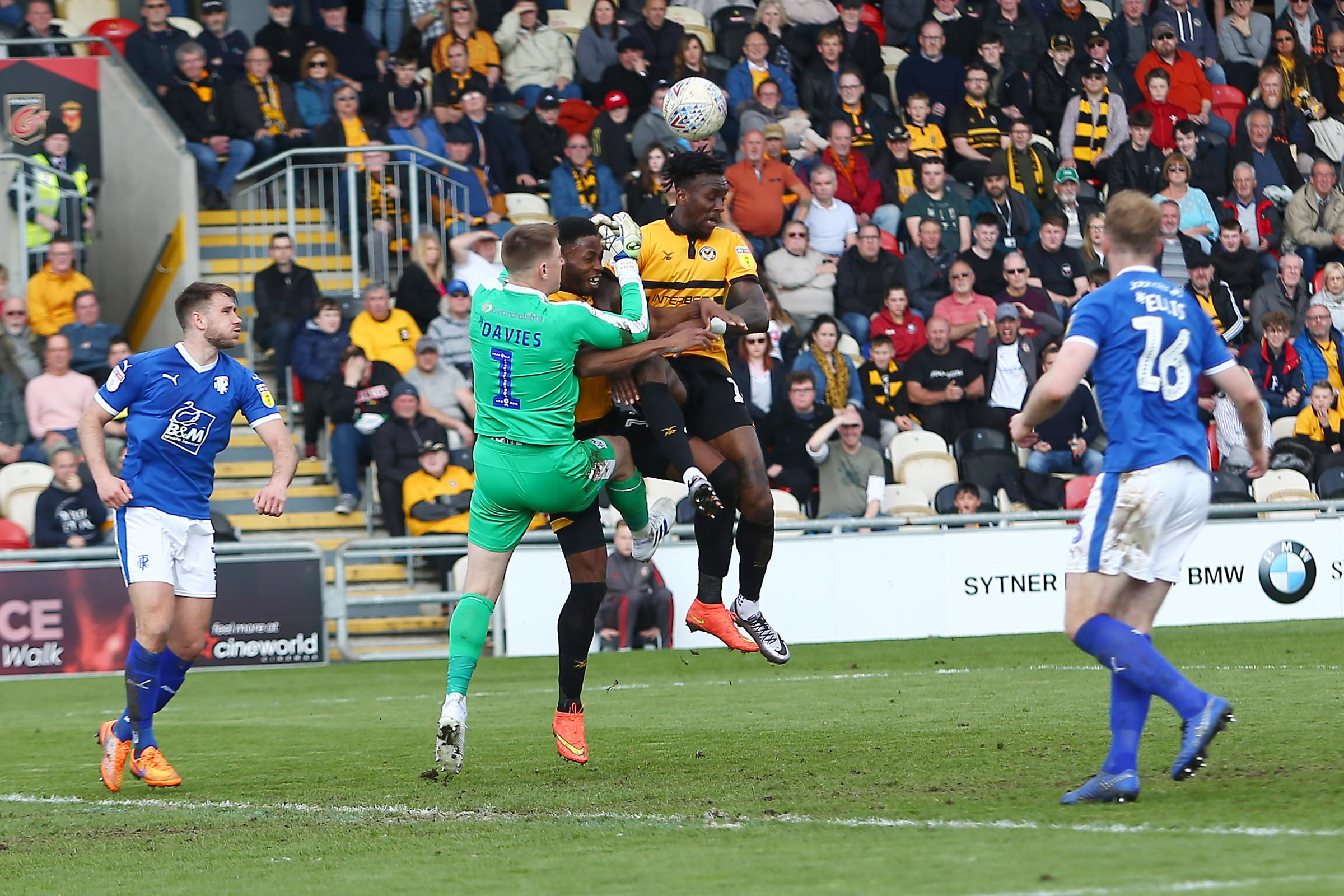 FRUSTRATION: Newport County strikers Ade Azeez and Jamille Matt couldn't find a way past Tranmere Rovers goalkeeper Scott Davies yesterday. Pictures: Huw Evans Agency