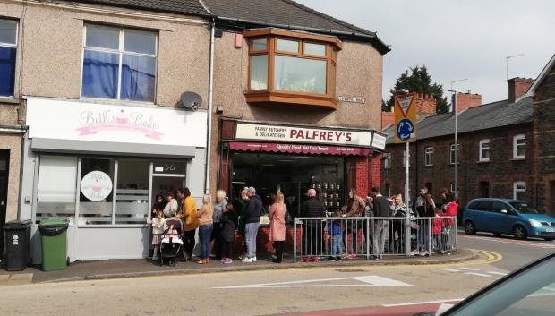 South Wales Argus: Customers wait eagerly outside Beth's Bakes in Newport.