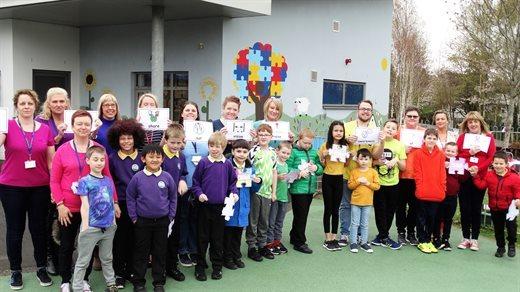 Pupils from Nant Celyn Primary ASD base celebrated Autism Awareness week by creating their very own autism awareness campaign. Picture: Torfaen Council