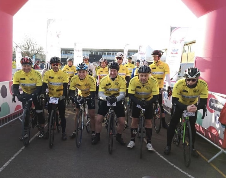 Get set: Sponsor Rhys Morton, MD of Whitehead Building Services with other riders at the start of the Whitehead Tour de Gwent 2019