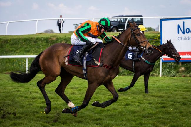 FINE RUN: Forget Me Knot (near side) just about to get the better of Stephanie Sunshine at Chepstow on Monday