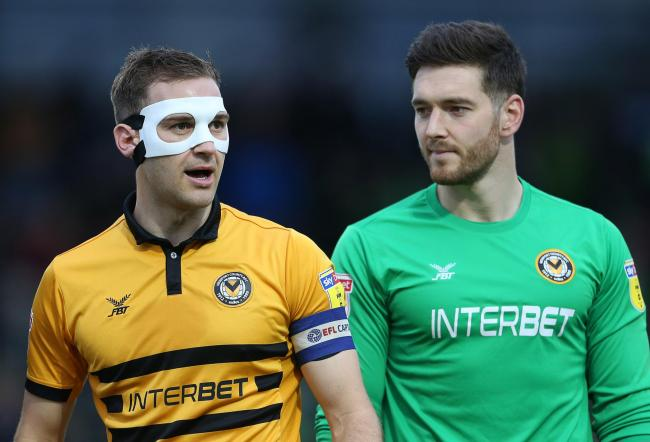 ea883fc7f90 AVAILABLE: Newport County defender Mickey Demetriou, left, and goalkeeper  Joe Day are both