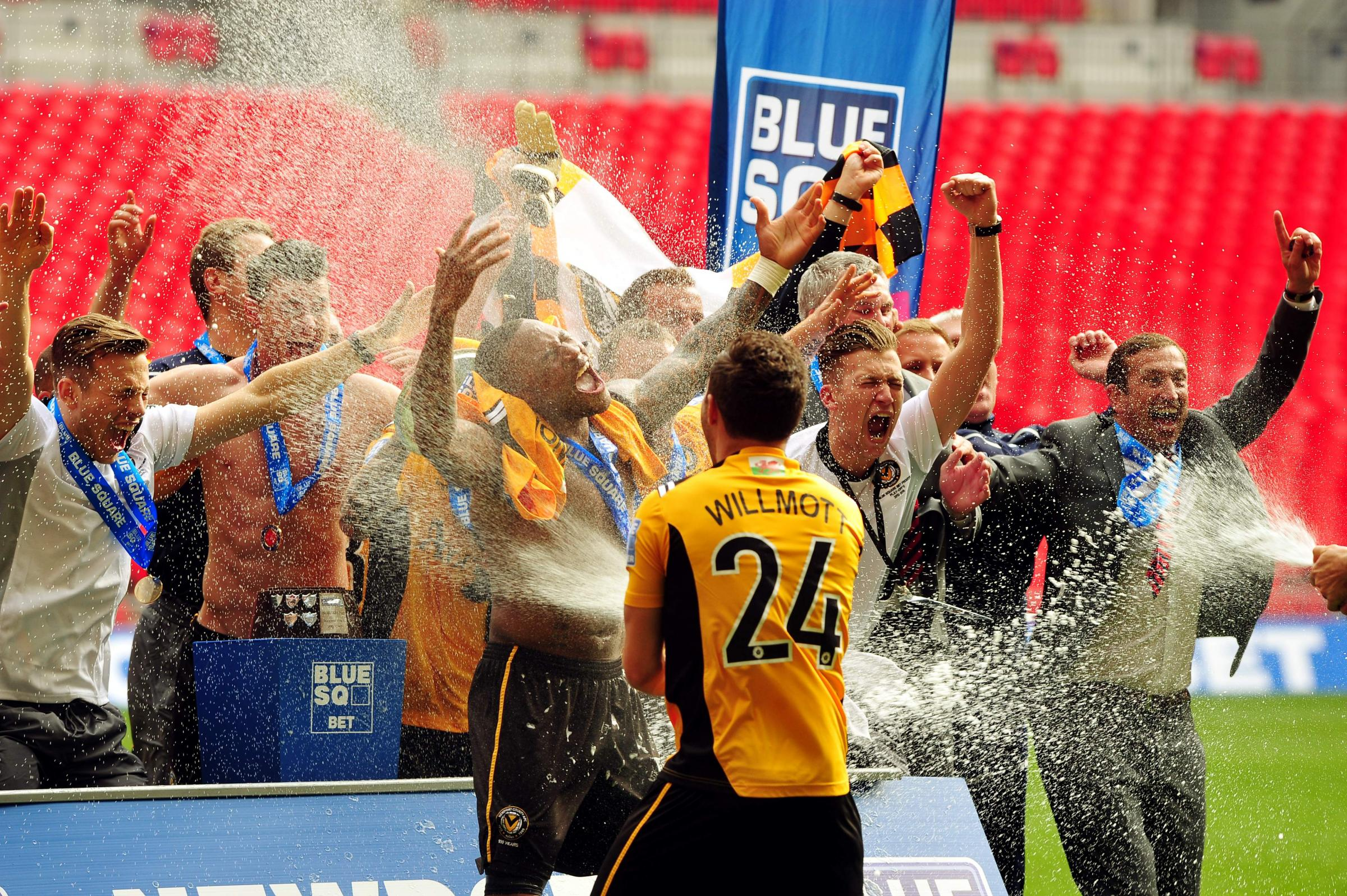 FLASHBACK: Robbie Willmott and Newport County celebrate promotion in 2013 after beating Wrexham at Wembley