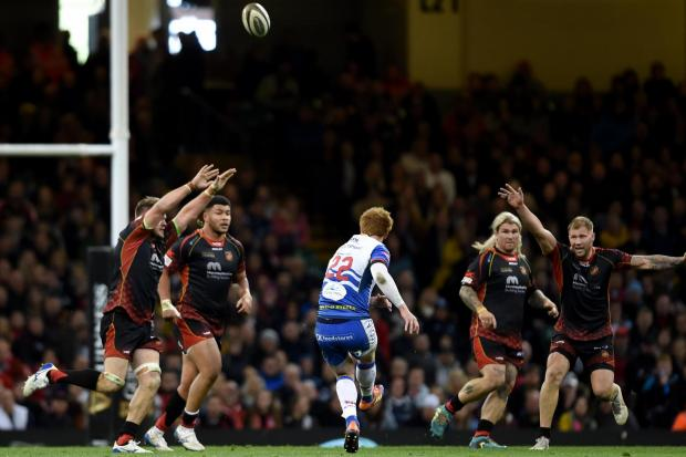 RELIEF: Rhys Patchell's late drop goal was wide and we won for the first time at Judgement Day