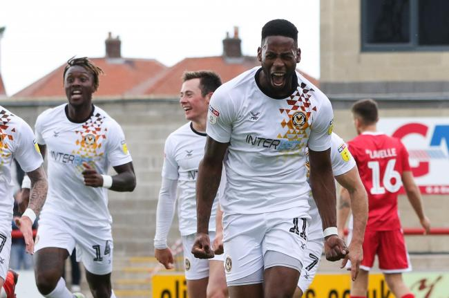 JUBILATION: Jamille Matt celebrates the goal that put Newport County in the play-offs. Pictures: Huw Evans Agency