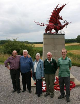 South Wales Argus: From left, Stuart Allen, Angus Evans, Pat Evans, Harold Evans and Steve Cocks at the Mametz Wood war memorial