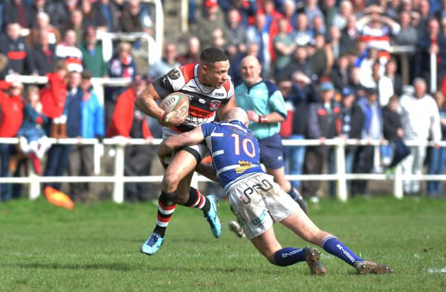 Lloyd Lewis looks to pass for Pontypool against Bridgend Ravens . .www.christinsleyphotography.co.uk.