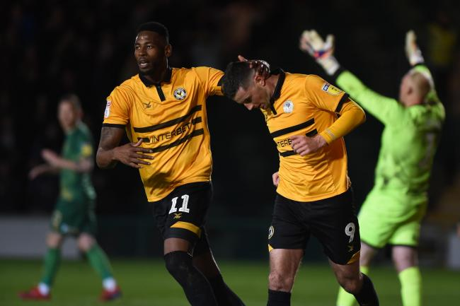 LEVEL: Jamille Matt, left, congratulates Padraig Amond as Newport County claimed a 1-1 draw with Mansfield Town. Pictures: Huw Evans Agency
