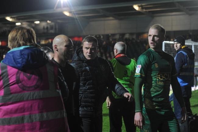 FURIOUS: Mansfield Town manager David Flitcroft confronted referee Charles Breakspear after the 1-1 draw with Newport County AFC. Pictures: Huw Evans Agency