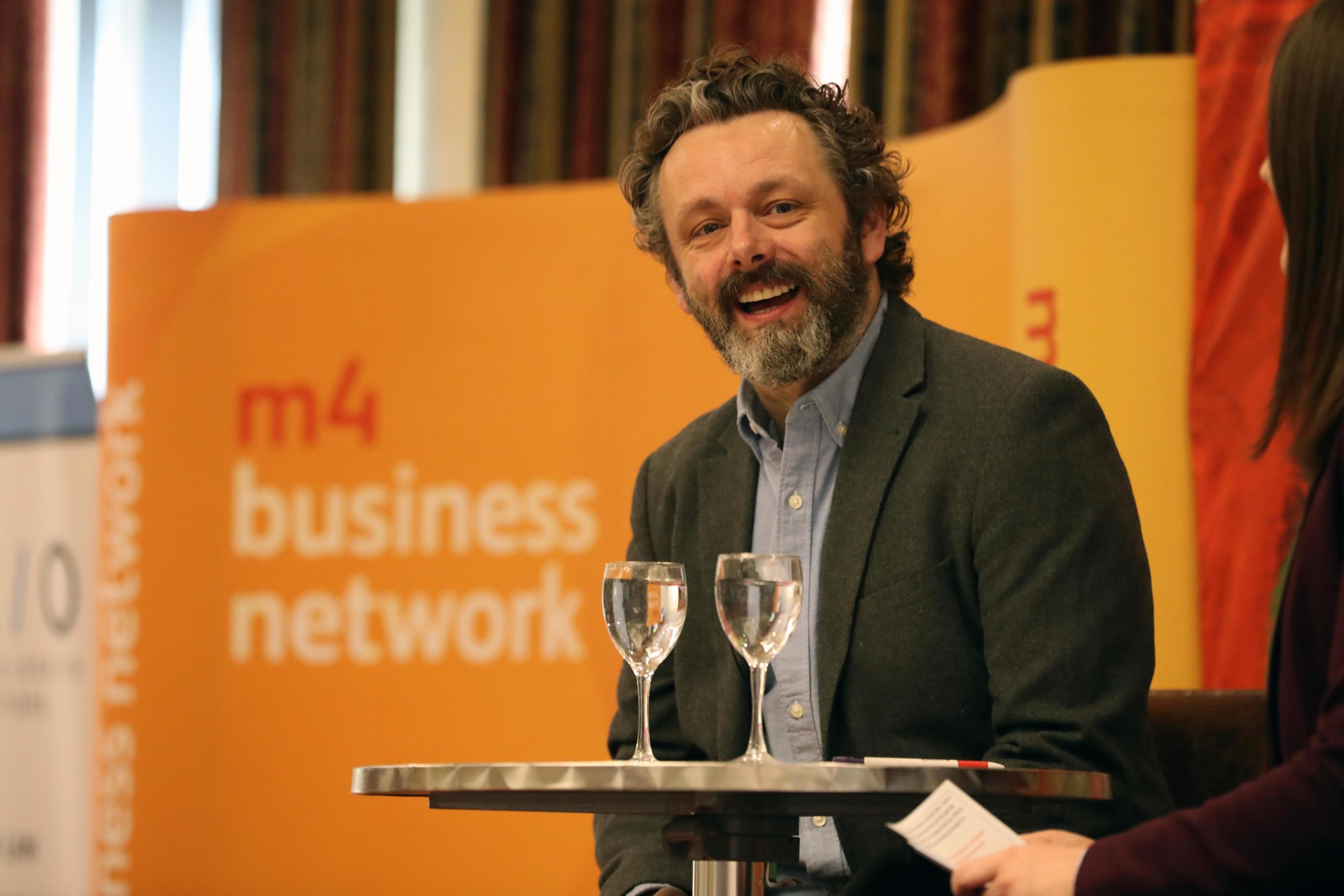 Michael Sheen addresses members and guests of the M4 Business Network