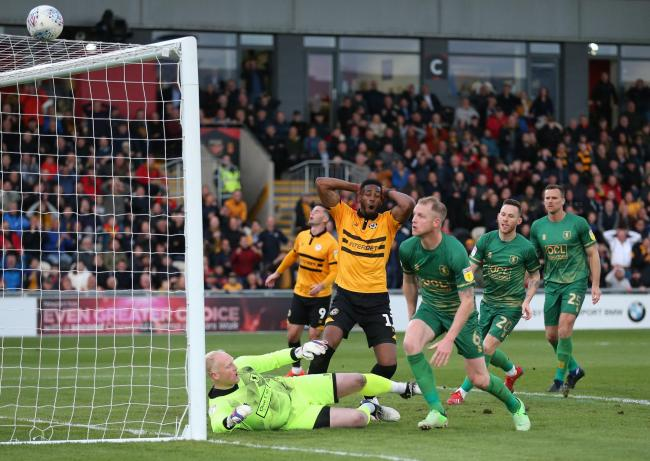 CLOSE: Newport County's Jamille Matt was denied by Mansfield Town's Conrad Logan on Thursday