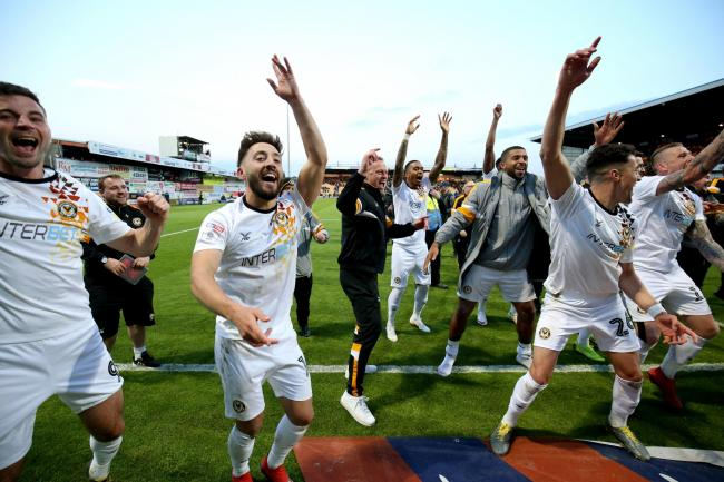 CELEBRATIONS: Newport County sealed a play-off final place at Wembley with a penalty shootout win at Mansfield Town on Sunday. Pictures: Huw Evans Agency