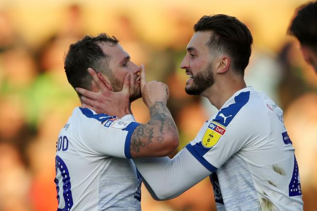 GOAL: Oliver Norwood, left, celebrates with Tranmere Rovers teammate Ollie Banks after scoring against Forest Green Rovers