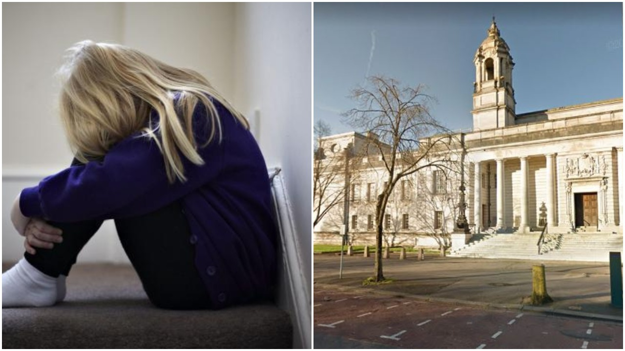 Stock image of a scare child and stock image of Cardiff Crown Court