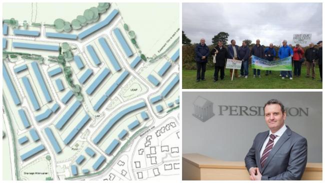 The proposed development north of Grove Park with protestors (top right) and Persimmon chief Martin Smith (bottom right)