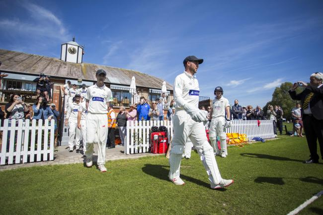 14.05.19 - Glamorgan v Gloucestershire - Specsavers County Championship - Division Two - Glamorgan walk on onto the pitch..