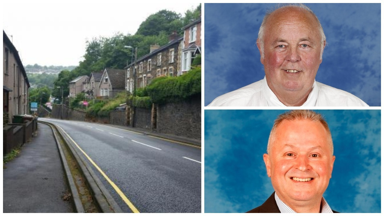 Hafod-yr-Ynys Road in Crumlin with Councillor Graham Simmonds (top right) and Councillor Sean Morgan (bottom right)