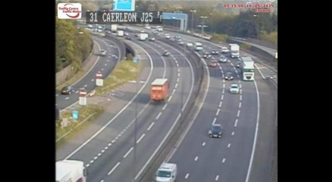 J25 (Caerleon) eastbound. Picture: Traffic Wales