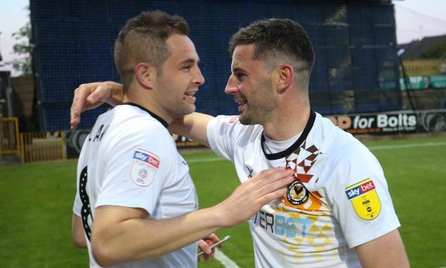 PLAY-OFF PLAUDITS: Matty Dolan, left, celebrates with Padraig Amond after sending County to Wembley