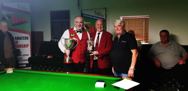 BAIZE OF GLORY: Darren Morgan, left, celebrates winning the 2019 Welsh Amateur Championship