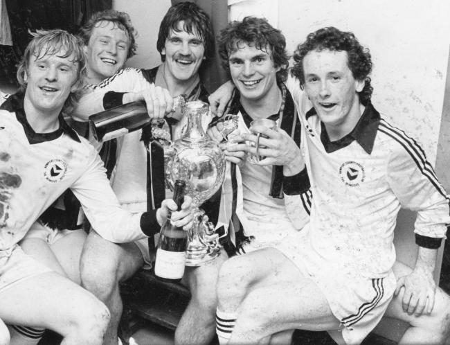 WINNERS: Newport County stars Tommy Tynan, Neil Bailey, Keith Oakes, Grant Davies and Nigel Vaughan celebrate with the Welsh Cup in 1980
