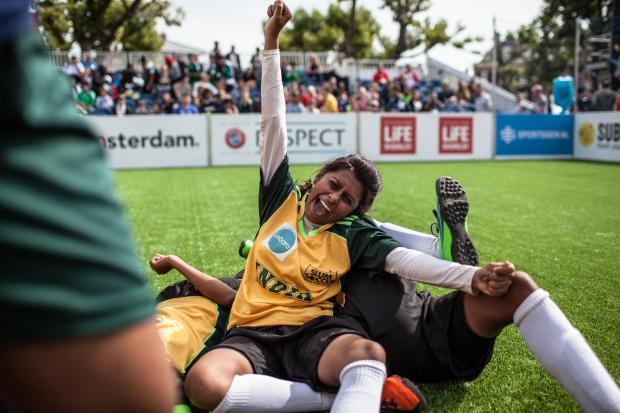 South Wales Argus: Indian players celebrate at the 2015 Homeless World Cup in Amsterdam.