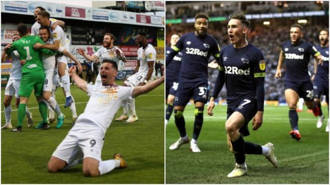 WEMBLEY-BOUND: Players from Newport County (left) and Derby County celebrate play-off semi-final triumphs