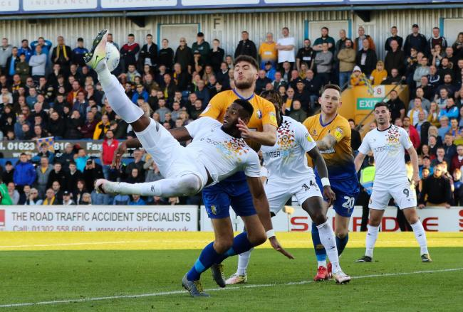 FOCUSED: Newport County striker Jamille Matt in action in the play-off semi-final second leg at Mansfield Town