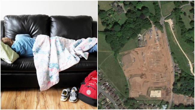Family forced to 'sleep on floor' because of five months of delays to housing scheme. An aerial view of the Deri Farm development in Mardy, Abergavenny. Picture: Google