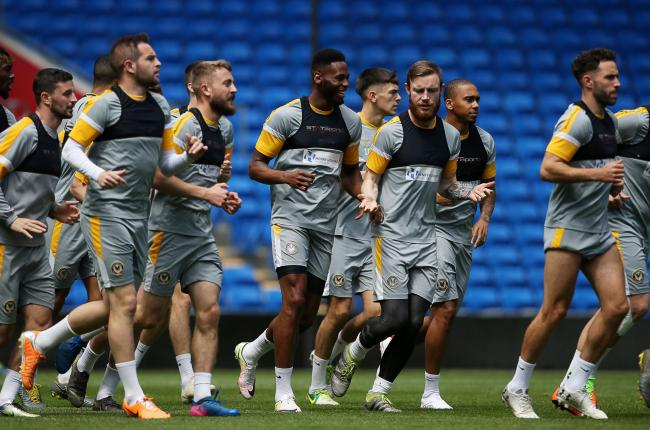 PREPARATIONS: Newport County captain Mark O'Brien, right, and teammates training at the Cardiff City Stadium